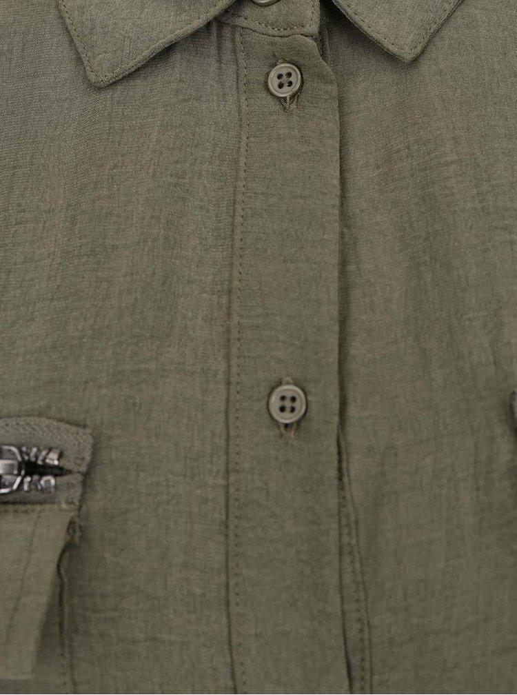 Khaki košilové šaty s 3/4 rukávem ONLY Kaia Avery