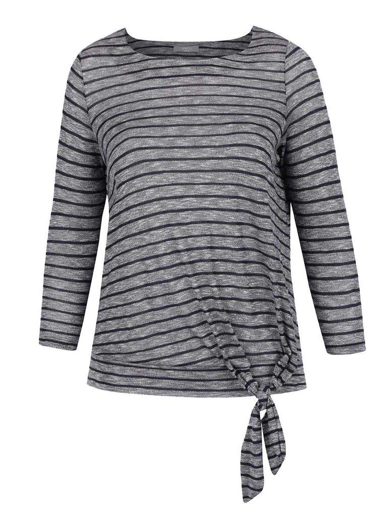 Šedo-modré dámské pruhované tričko s uzlíkem M&Co