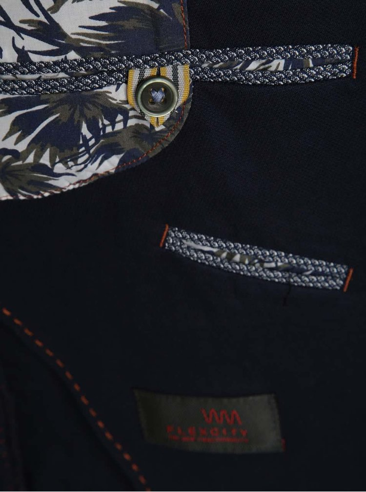 Tmavě modré pánské sako s exotickým motivem s  bugatti