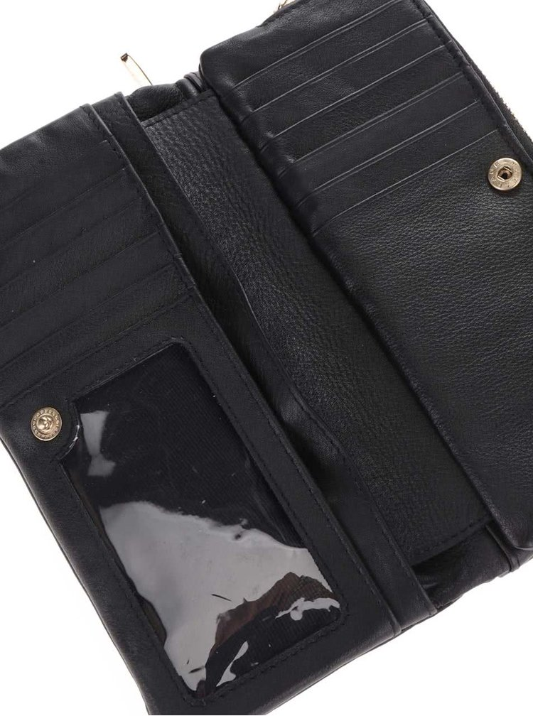 Černá kožená peněženka s detaily ve zlaté barvě Liberty by Gionni Fernanda