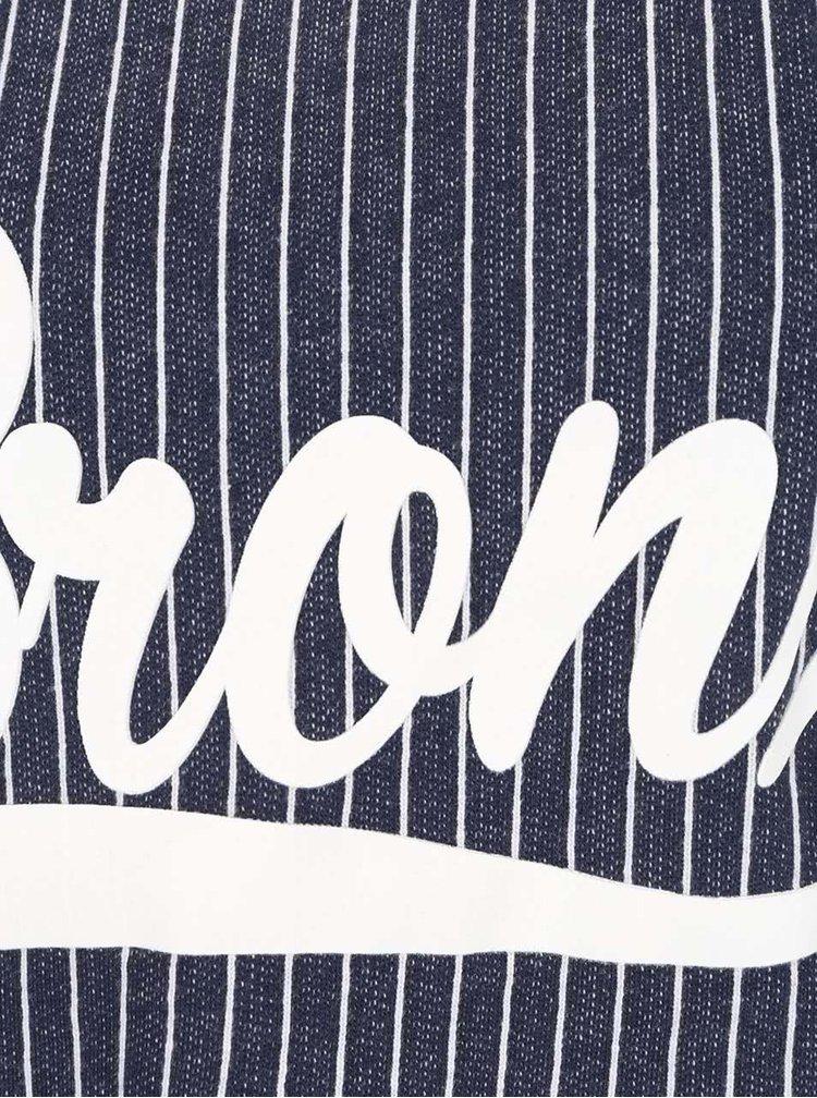 Bluză bleumarin Jacqueline de Yong Dream cu text print și model în dungi verticale