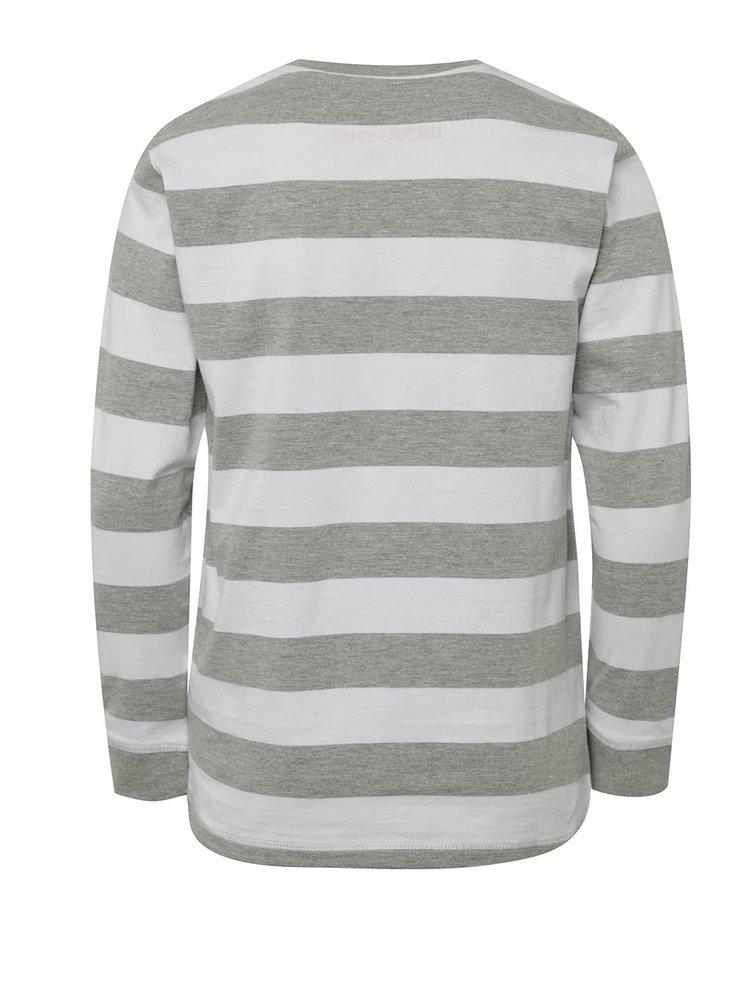 Bílo-šedé klučičí pruhované triko s dlouhým rukávem 5.10.15.