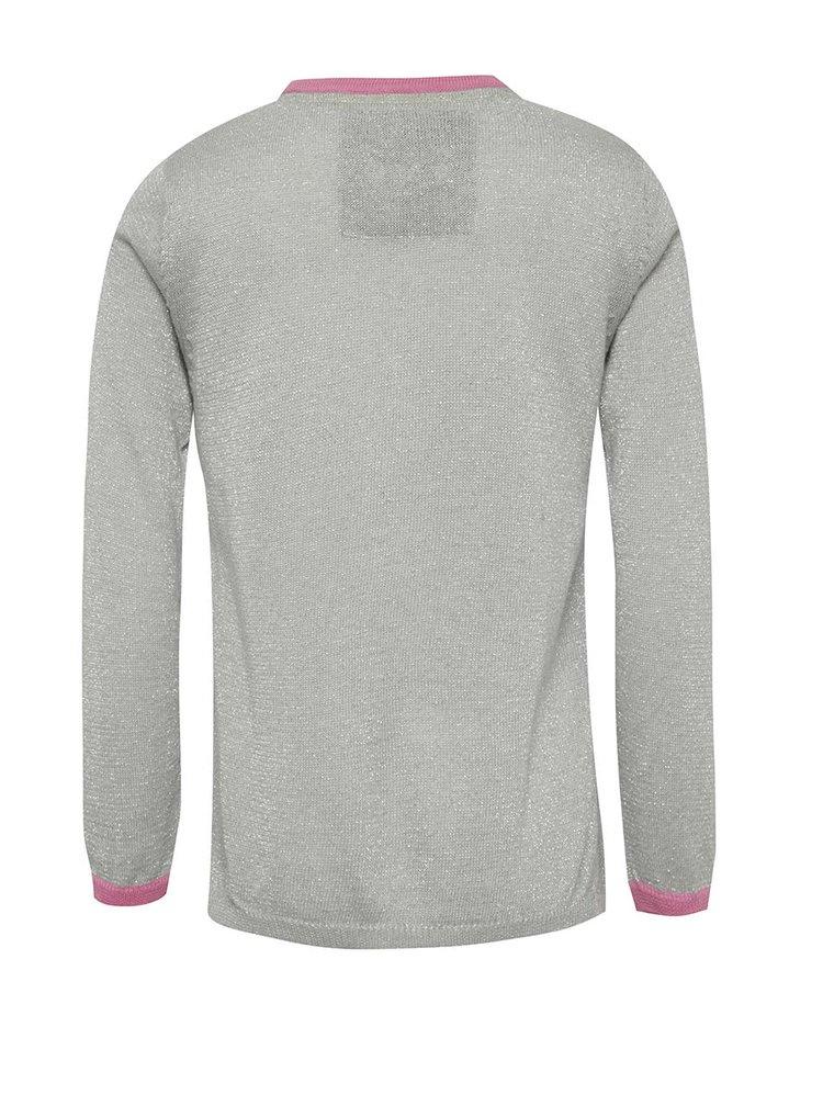 Světle šedý holčičí svetr s barevnými puntíky 5.10.15.