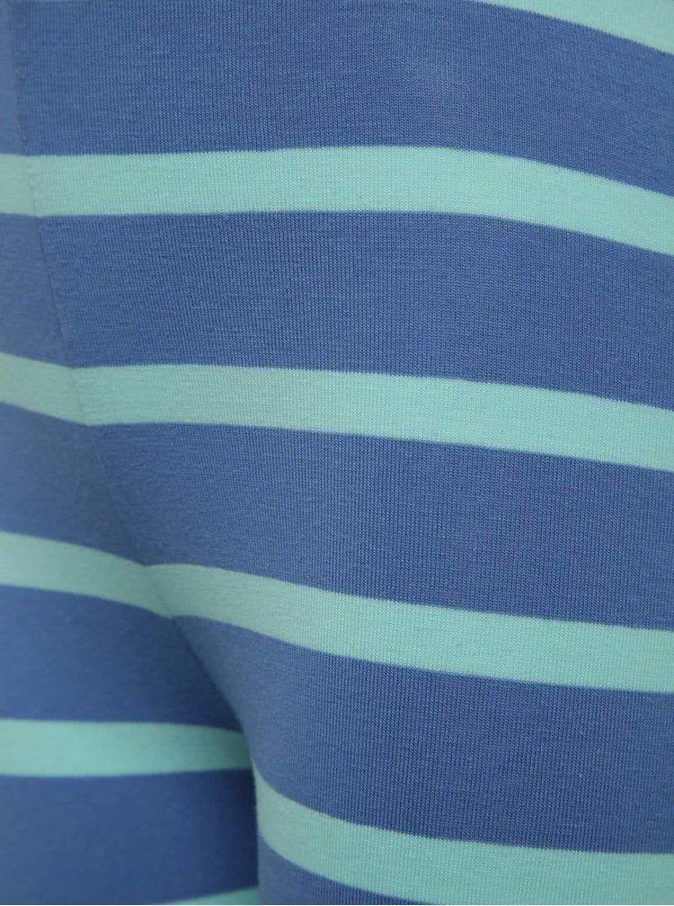 Modré holčičí pruhované legíny s nášivkami 5.10.15.