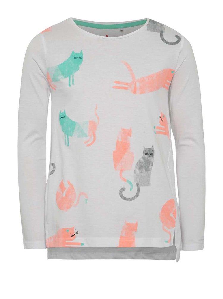 Bílé holčičí tričko s potiskem koček5.10.15.