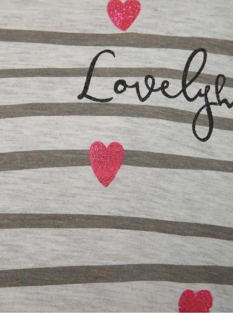 Šedé holčičí pruhované tričko se srdíčky a 3/4 rukávy 5.10.15.