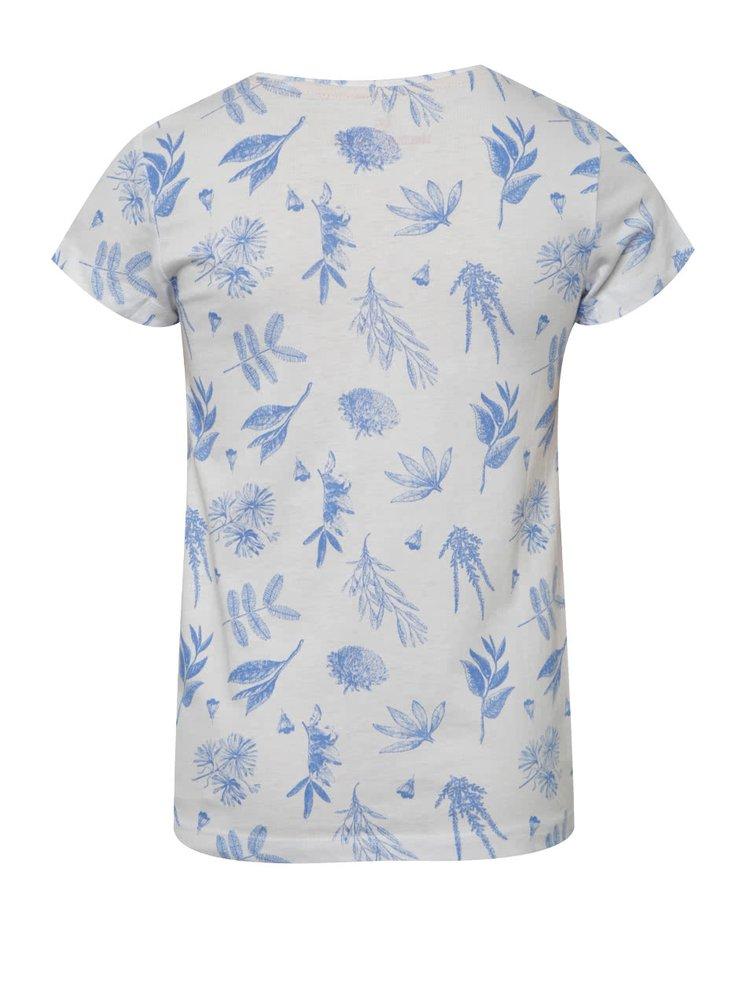 Bílé holčičí tričko s modrými lístky 5.10.15.