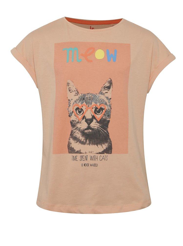 Oranžové holčičí tričko s potiskem kočky 5.10.15.