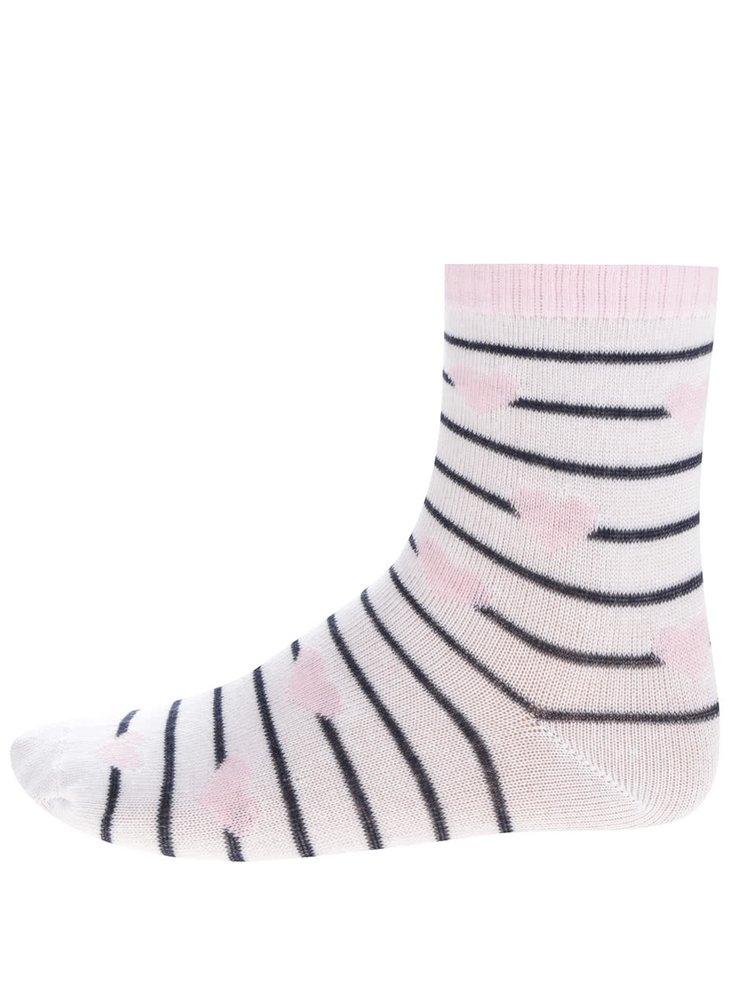 Sada tří párů holčičích ponožek s pruhy a srdíčky 5.10.15.