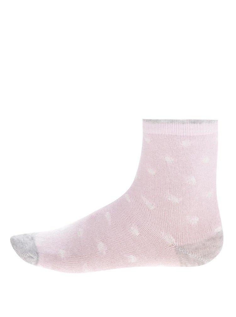 Sada tří párů holčičích ponožek v krémové a růžové barvě s pruhy a puntíky 5.10.15.