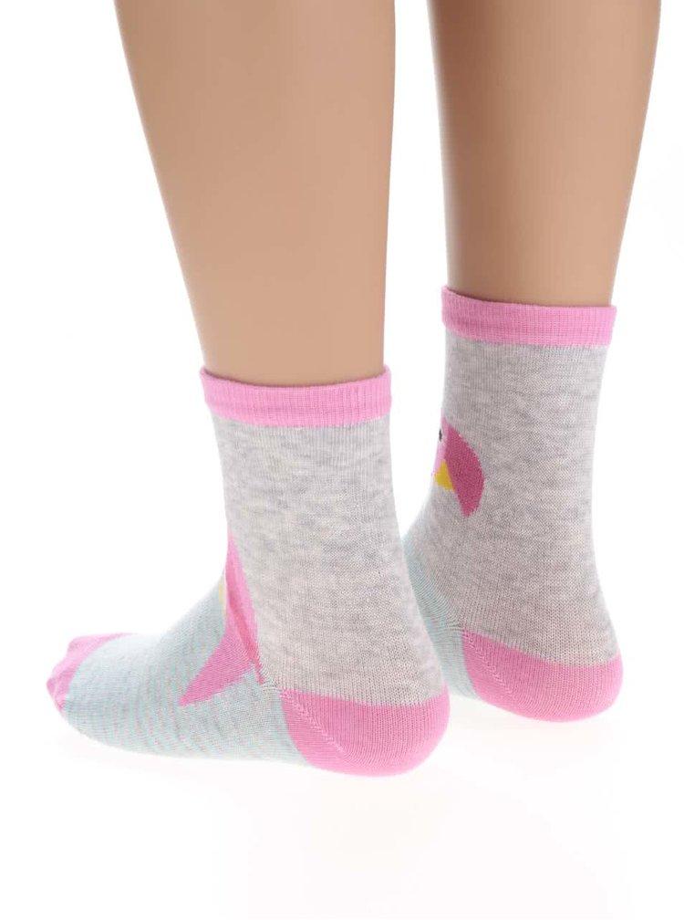 Sada tří párů holčičích ponožek v růžové a šedé barvě s papouškem 5.10.15.