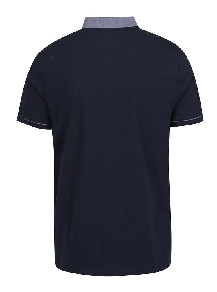 Tricou polo albastru închis Burton Menswear London din bumbac cu buzunar