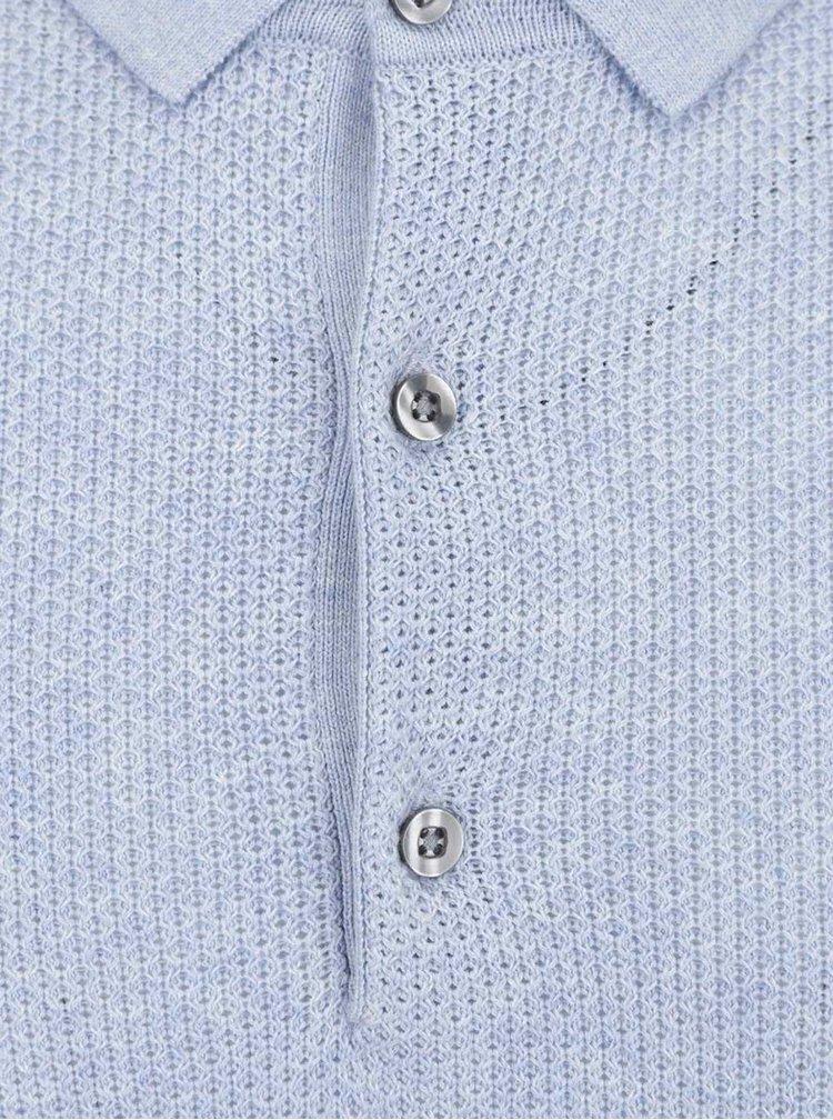 Tricou polo albastru tricotat Burton Menswear London