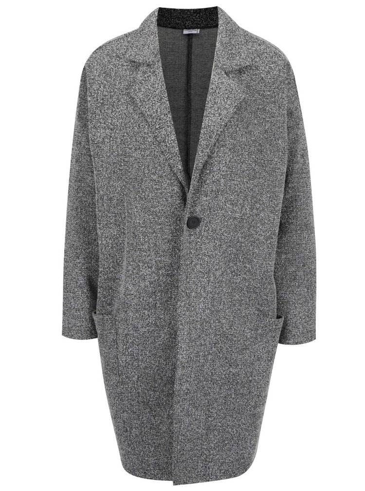 Tmavě šedý žíhaný lehký kabát Jacqueline de Yong Teller