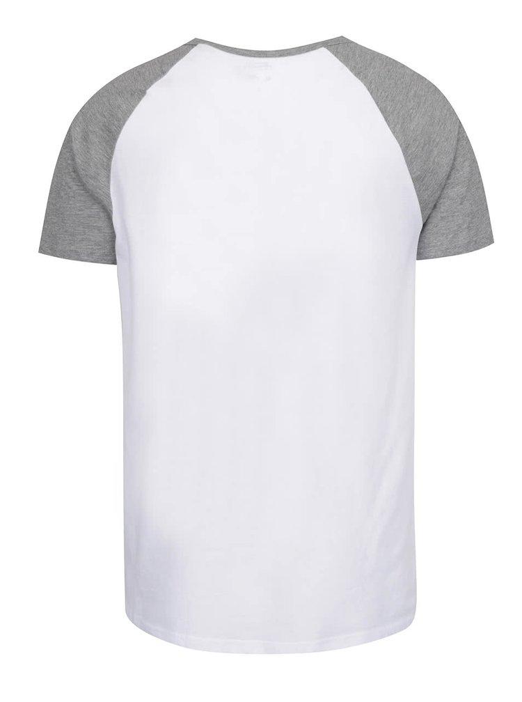 Tricou alb & gri Burton Menswear London din bumbac