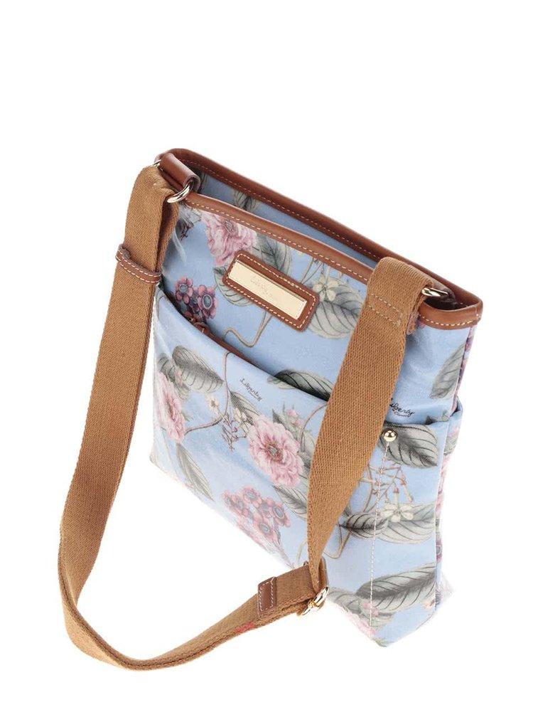 Modrá květovaná crossbody kabelka s koženými detaily Liberty by Gionni Anais