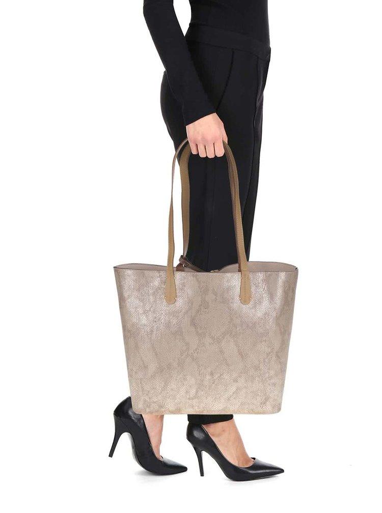 Geanta shopper reversibila bej 2in1 Liberty by Gionni Heather cu aspect metalic