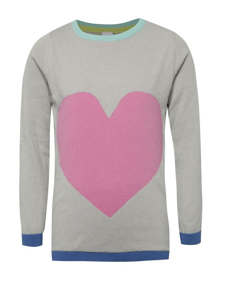 Růžovo-šedý holčičí svetr s motivem srdce 5.10.15.