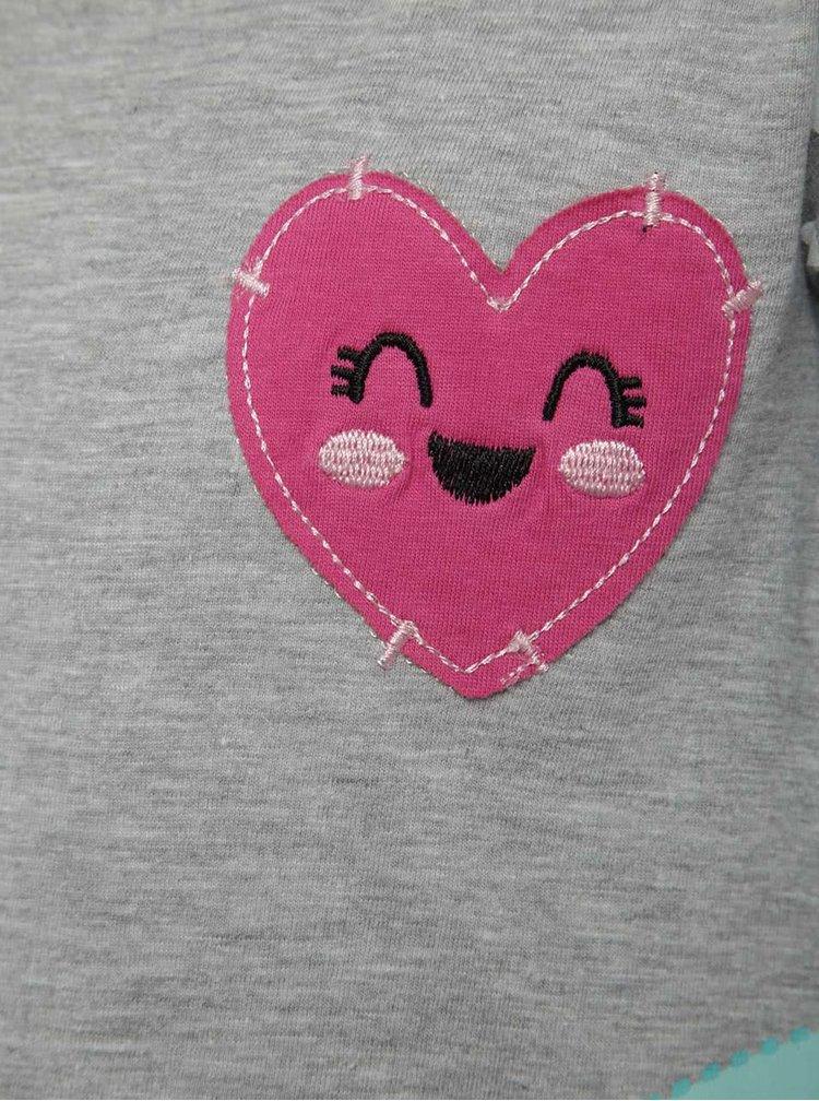Šedé holčičí tričko s motivem srdce a duhy 5.10.15.