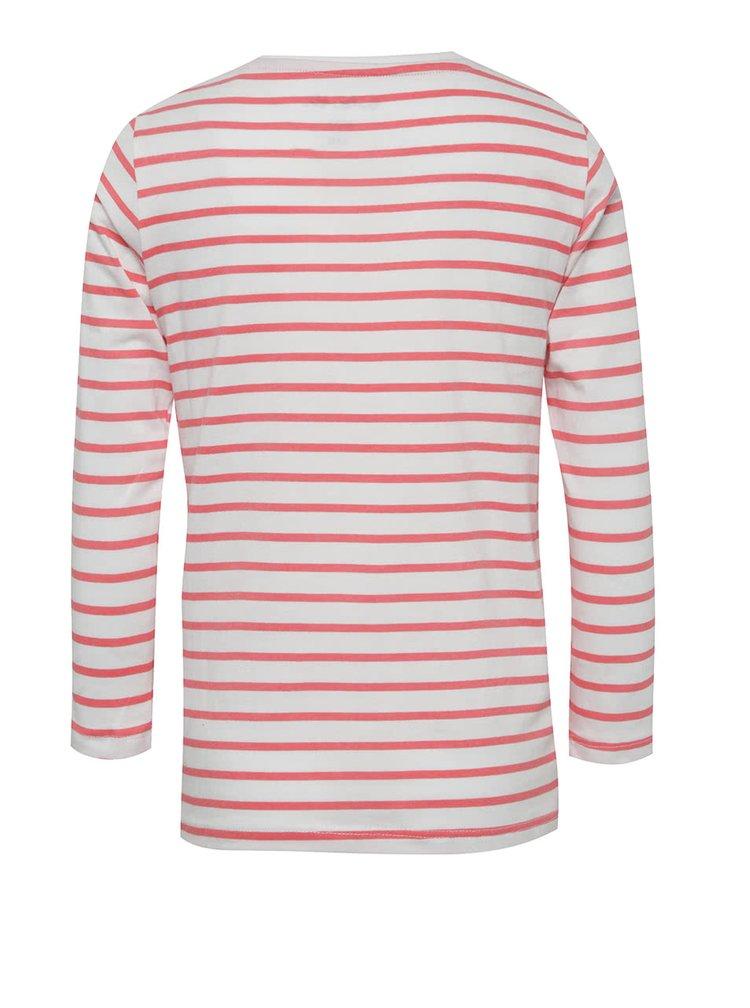 Růžovo-bílé holčičí pruhované tričko s flitry 5.10.15.