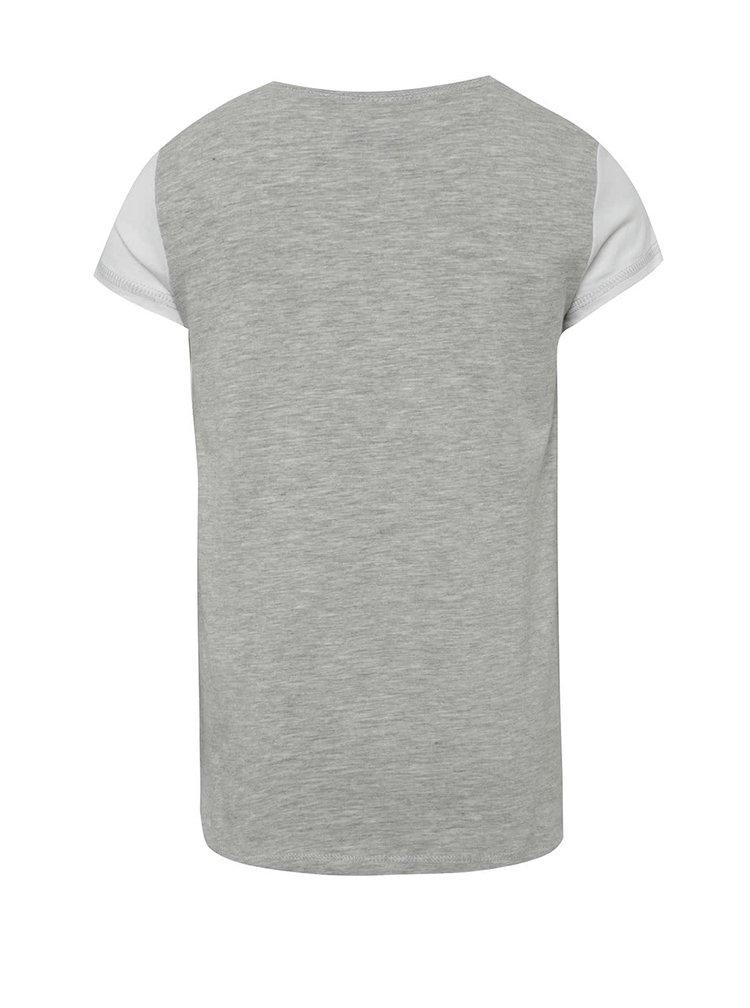 Šedo-bílé holčičí tričko s potiskem a mašlí 5.10.15.