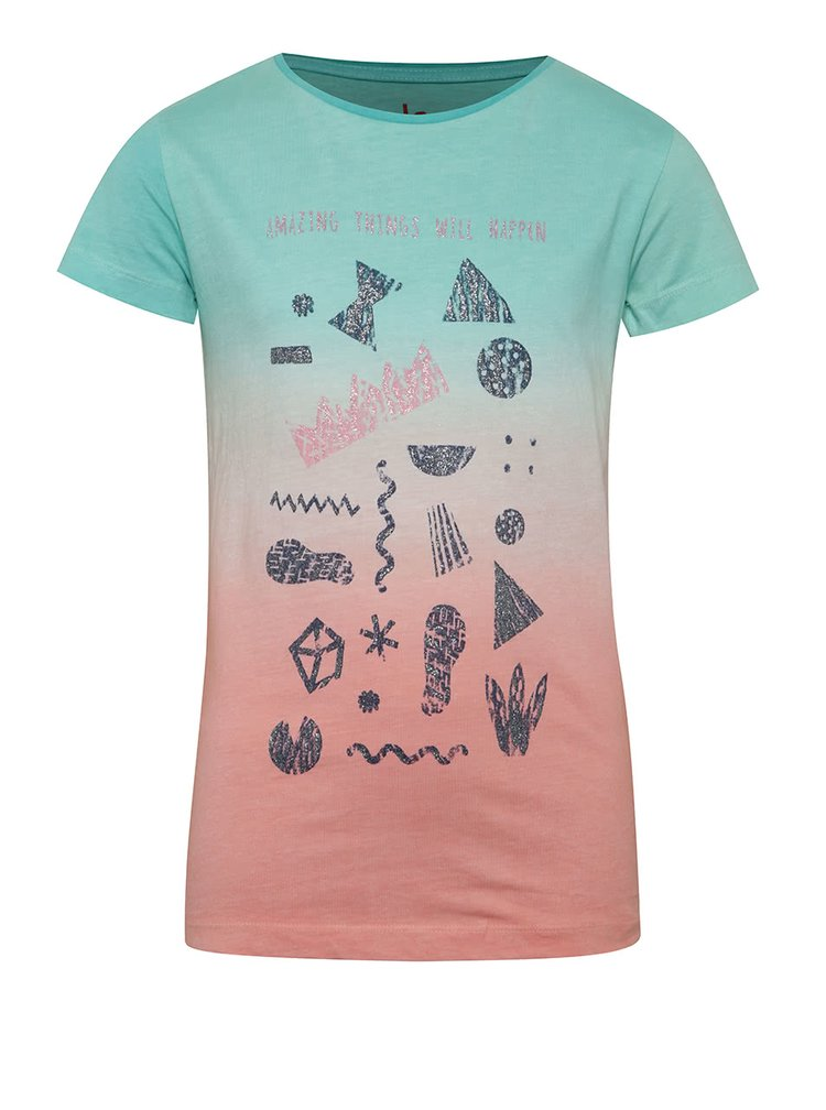 Zeleno-růžové holčičí tričko s potiskem 5.10.15.