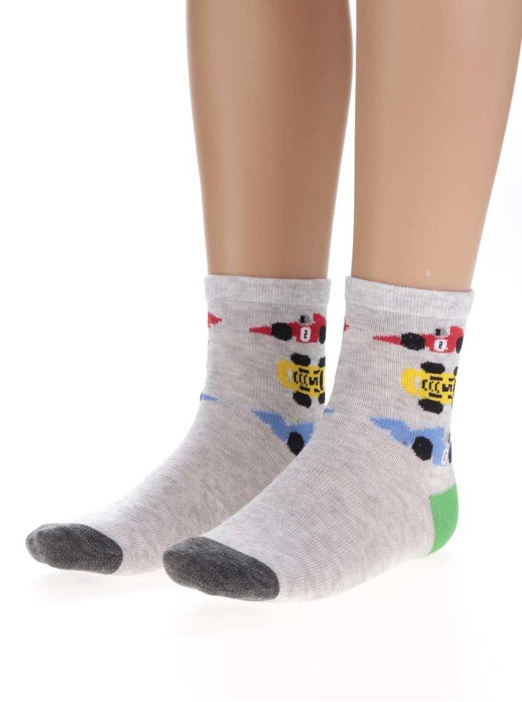 Sada tří párů klučičích vzorovaných ponožek v šedé barvě 5.10.15.