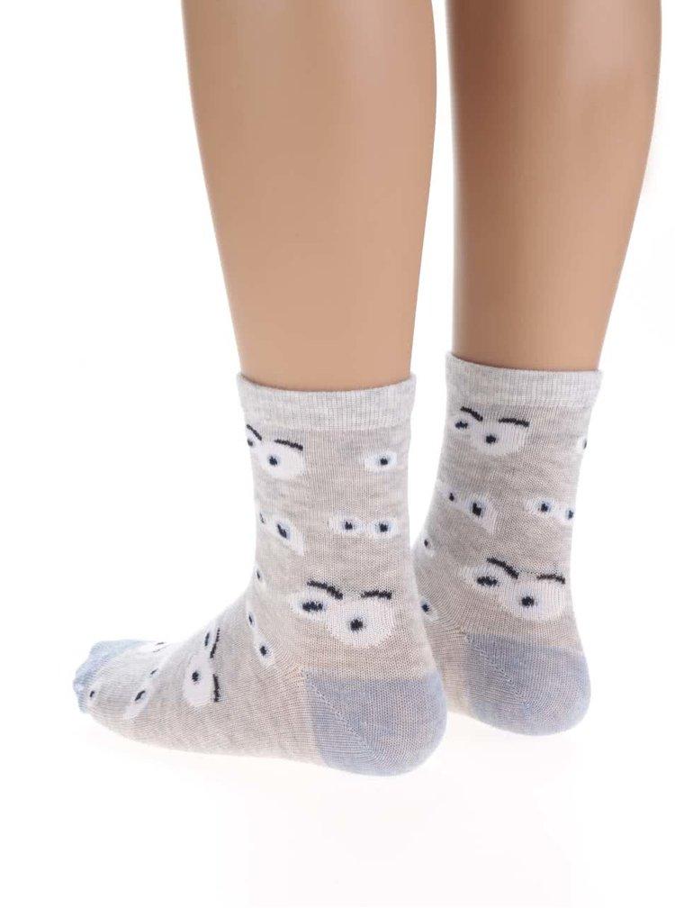 Sada tří párů klučičích vzorovaných ponožek v šedé a modré barvě 5.10.15.