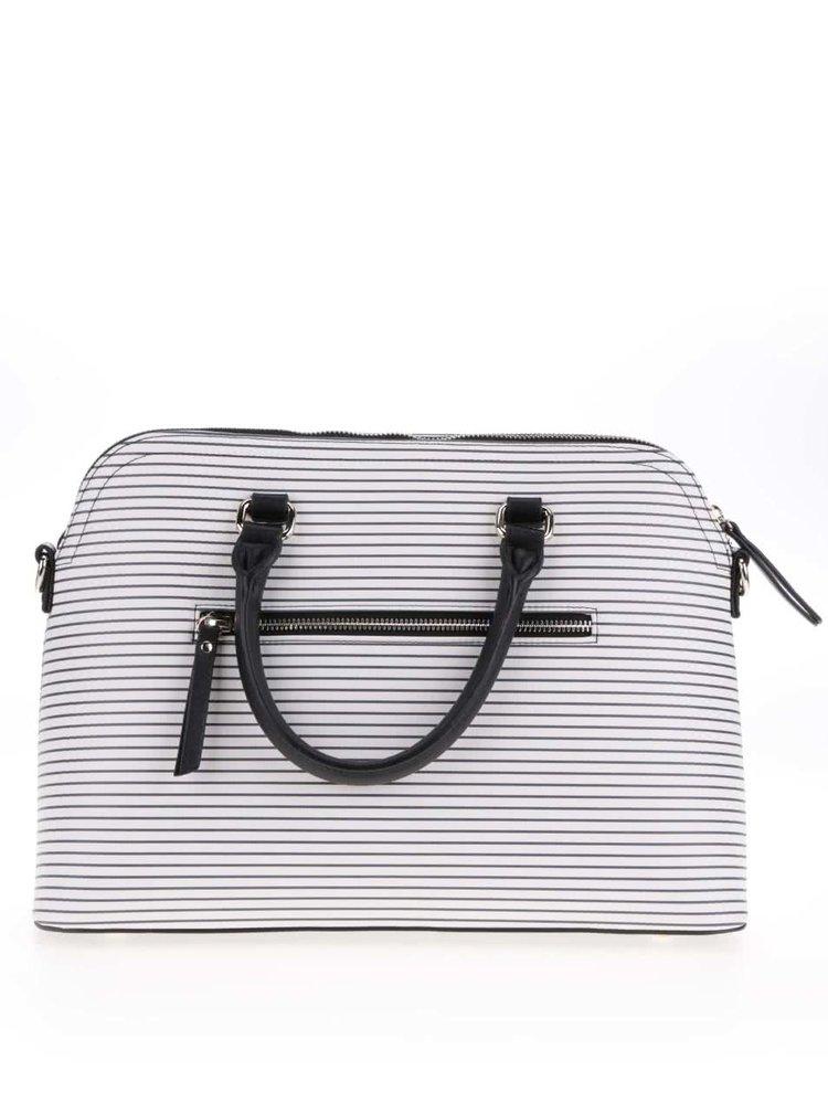Geantă shopper negru&alb fildeș Paul's Boutique Maisy cu dungi subțiri