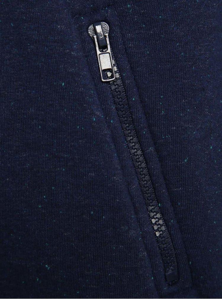 Tmavě modrá holčičí mikina s kapucí se vzorovanou podšívkou 5.10.15.