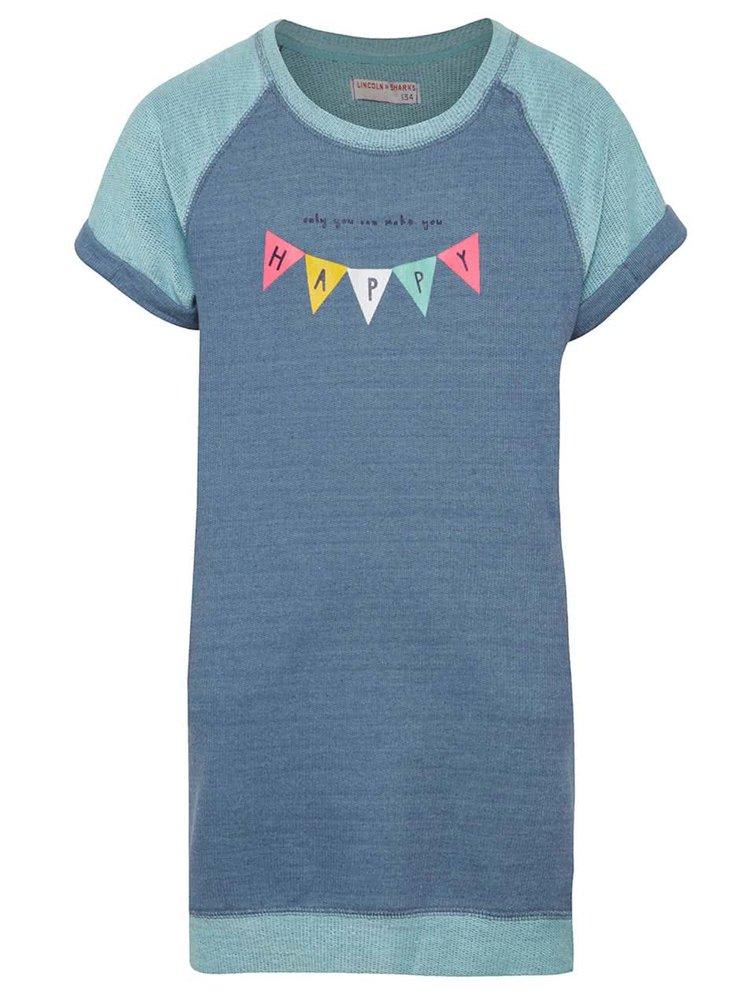 Modré holčičí mikinové šaty s potiskem 5.10.15.