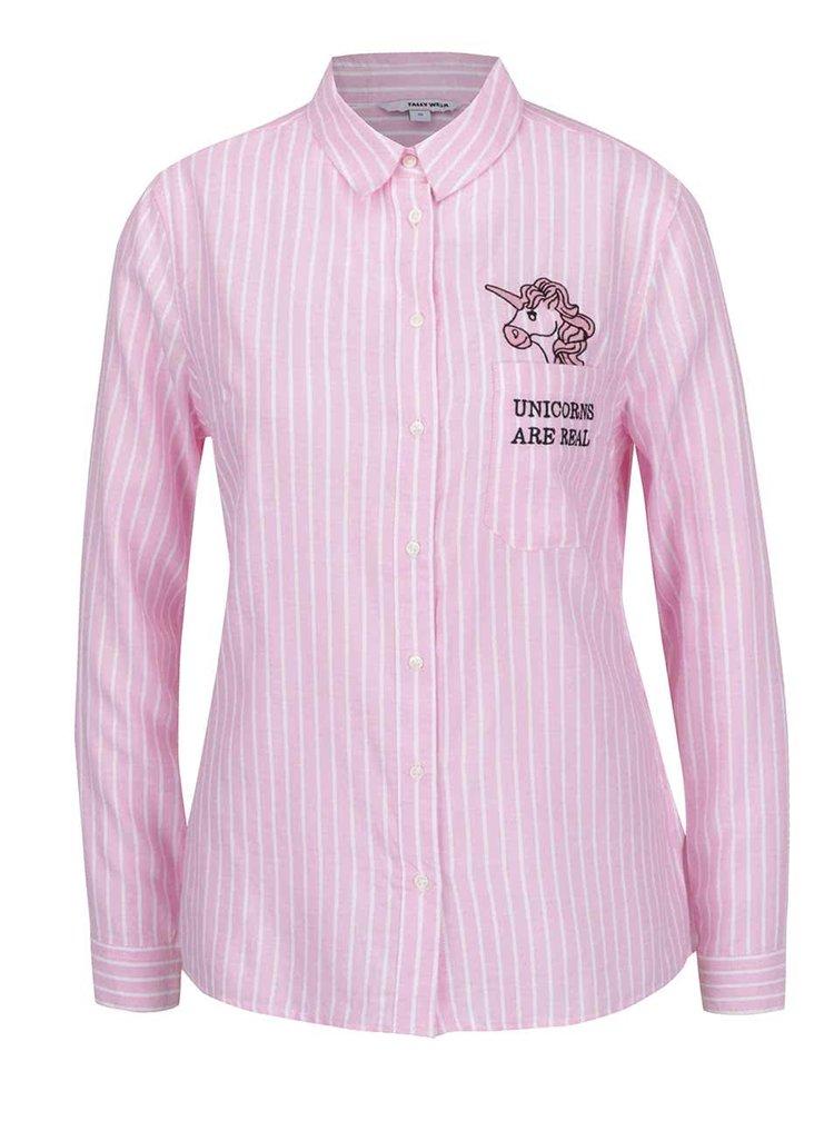 Cămașă roz & alb TALLY WEiJL cu broderie