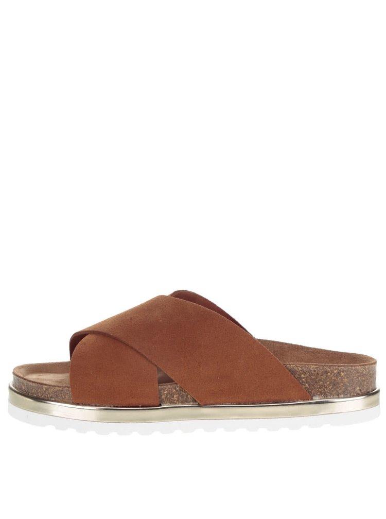 Hnědé kožené pantoflle na platformě VERO MODA Lise