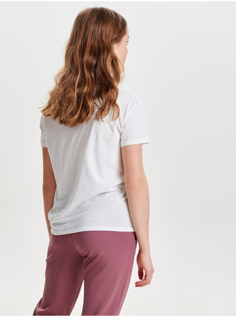 Krémové tričko s vázáním na uzel ONLY Amber