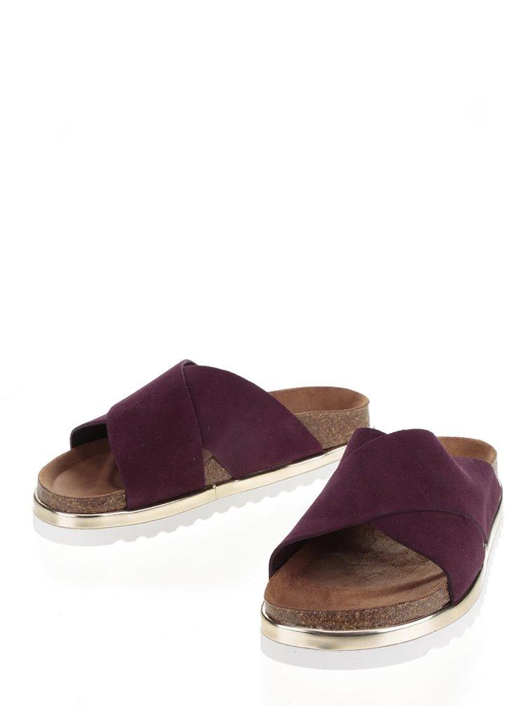 Papuci ortopedici violet închis VERO MODA Lise cu detaliu auriu