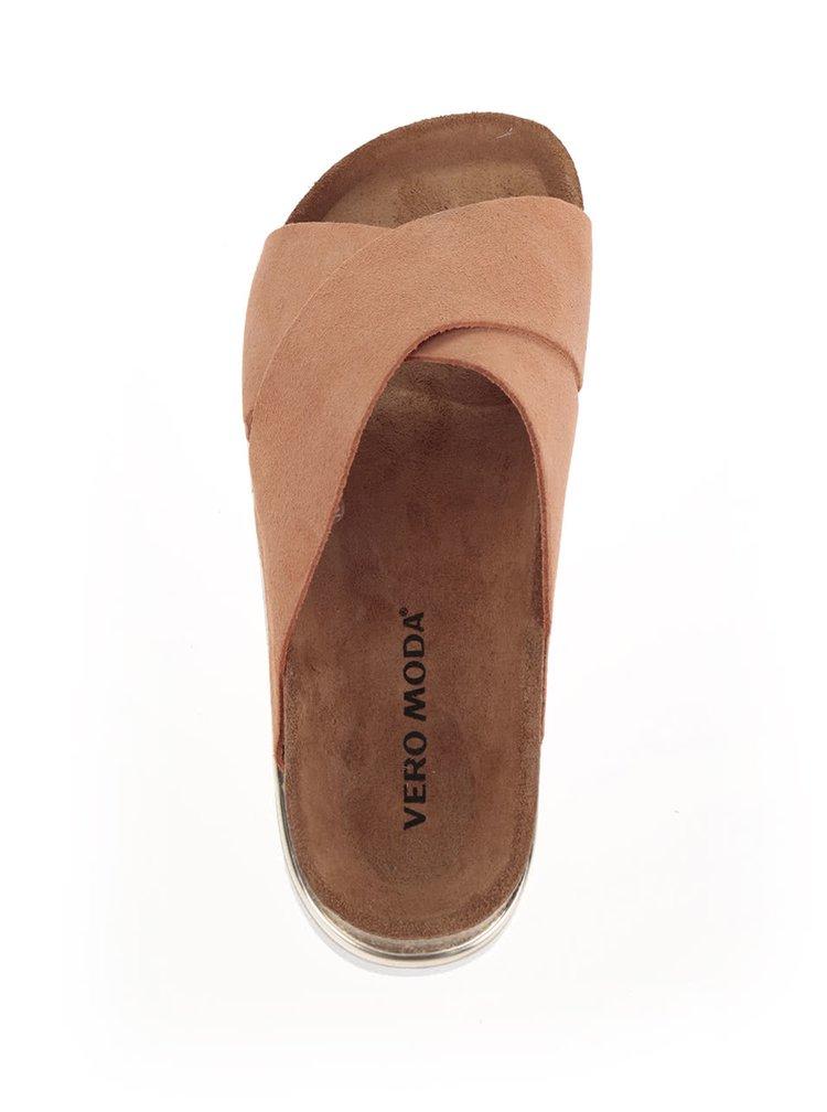 Papuci ortopedici roz somon VERO MODA Lise cu detaliu auriu
