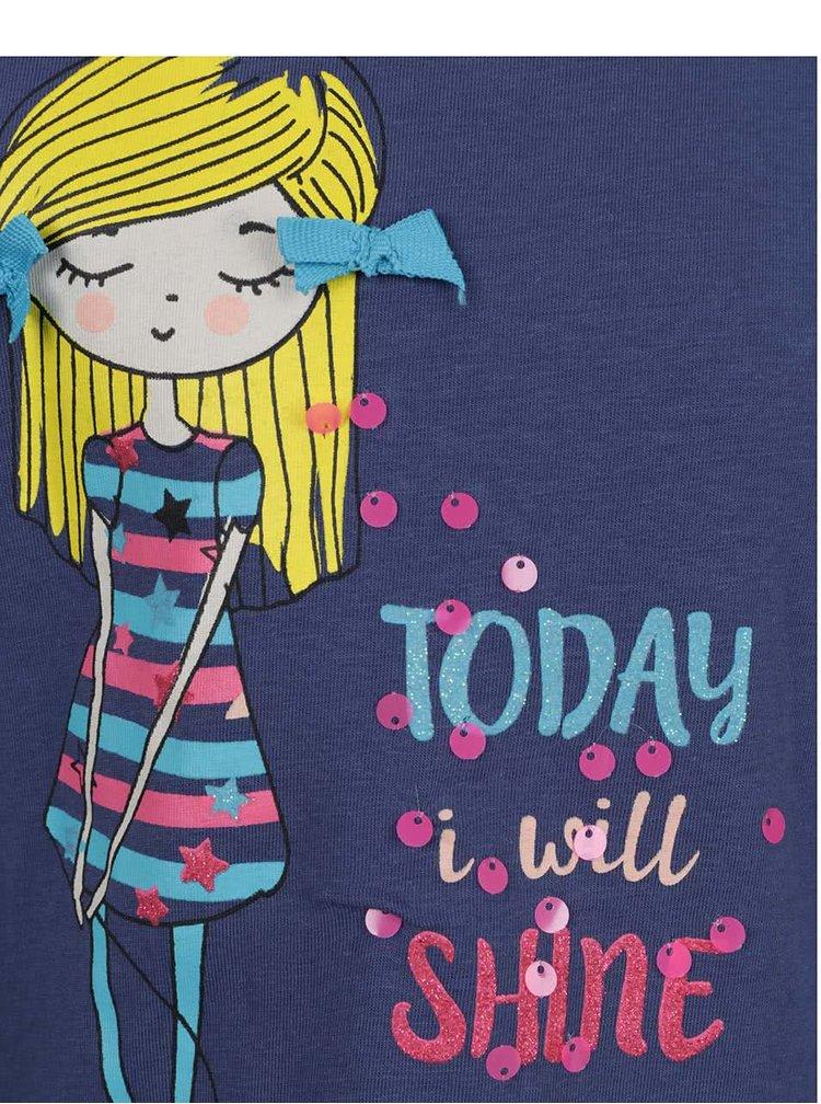 Tmavě modré holčičí tričko s potiskem a dlouhým rukávem 5.10.15.
