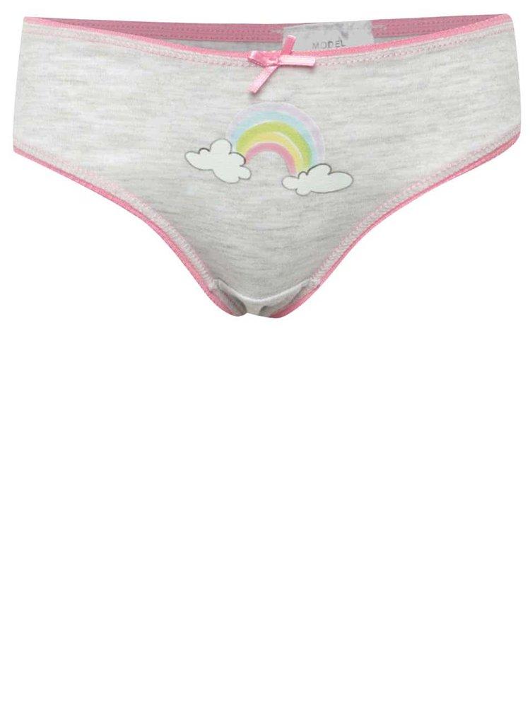 Sada tří holčičích vzorovaných kalhotek v šedé barvě 5.10.15.