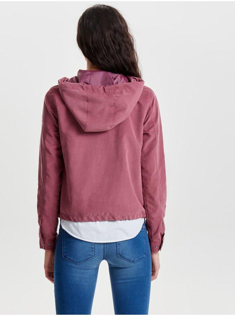 Tmavě růžová lehká bunda s kapucí ONLY Skylar