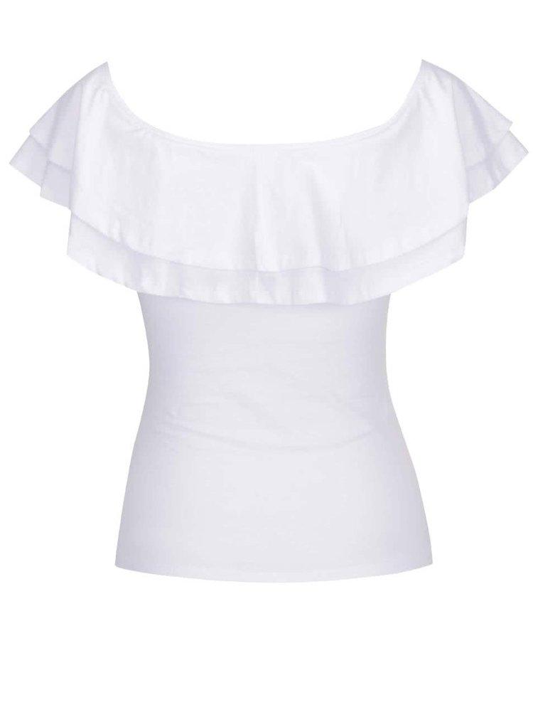 Bílé tričko s lodičkovým výstřihem a volány TALLY WEiJL
