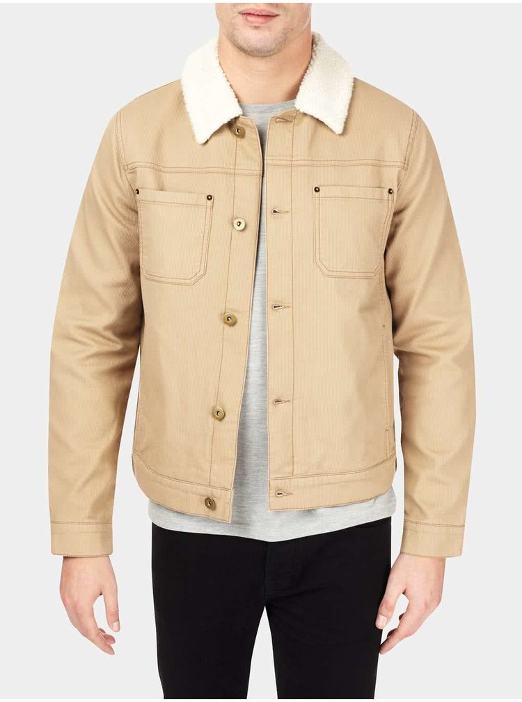 Béžová pánská bunda s límcem Burton Menswear London