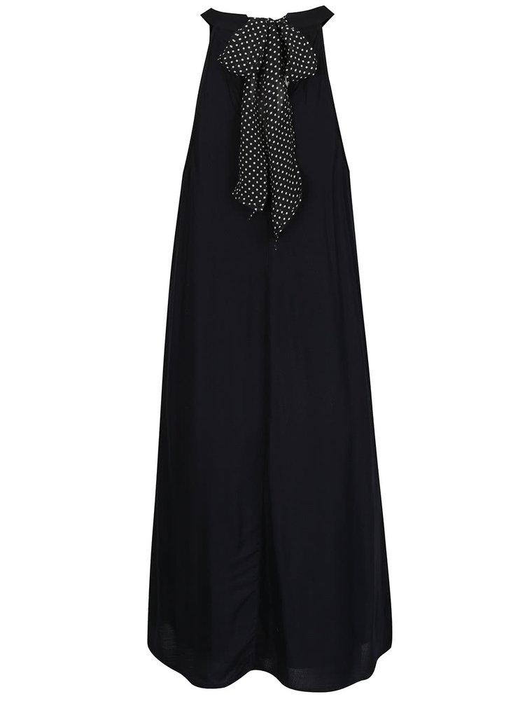 Černé volné šaty s mašlí za krkem VERO MODA Sally