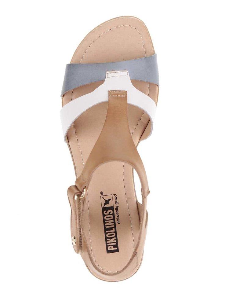 Sandale maro Pikolinos Alcudia din piele cu detaliu albastru