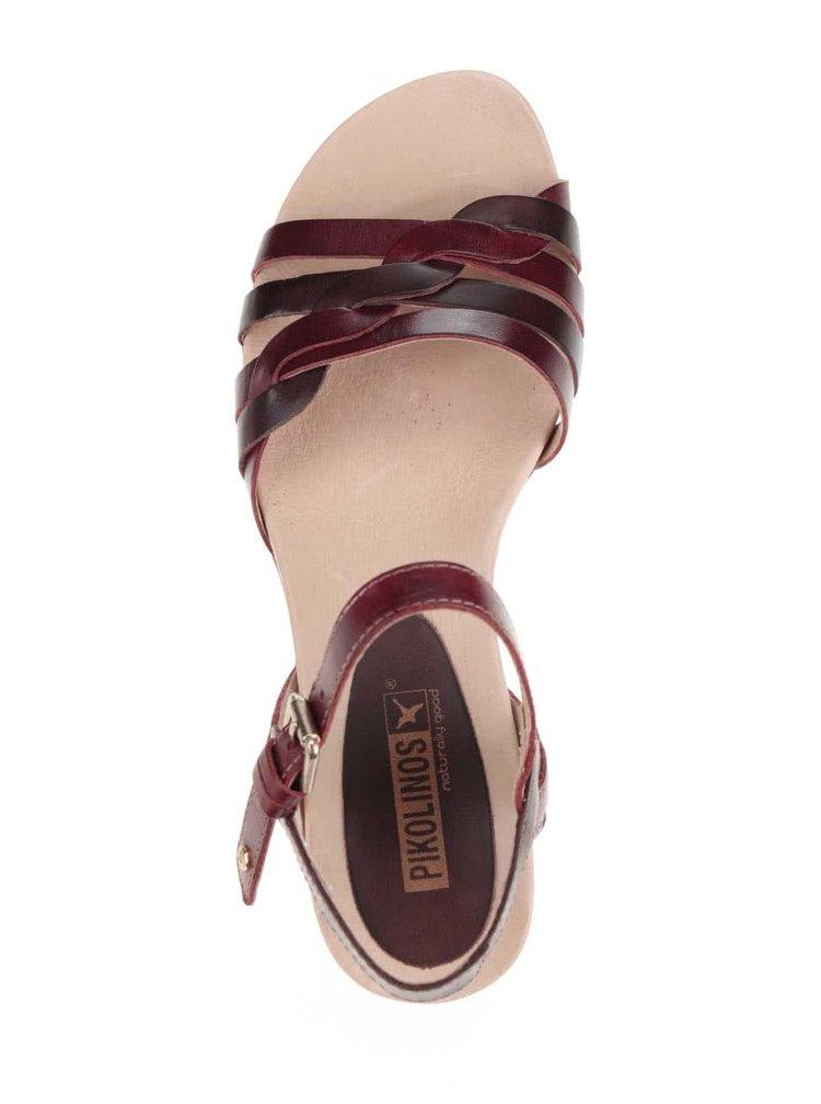 Vínovo-hnědé kožené sandály Pikolinos Alcudia