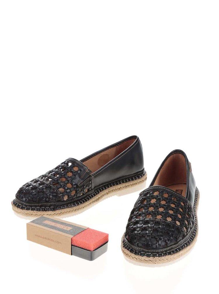 Černé perforované kožené loafers Pikolinos Cadamunt