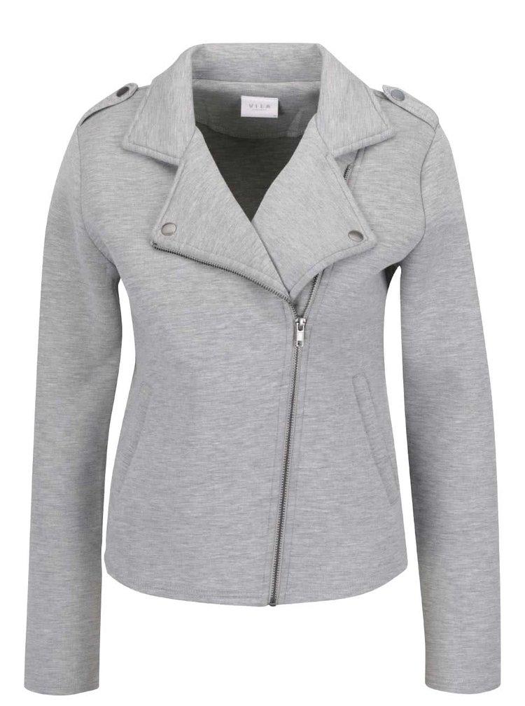 Jachetă gri melanj VILA Biker cu guler cu revere și închidere asimetrică