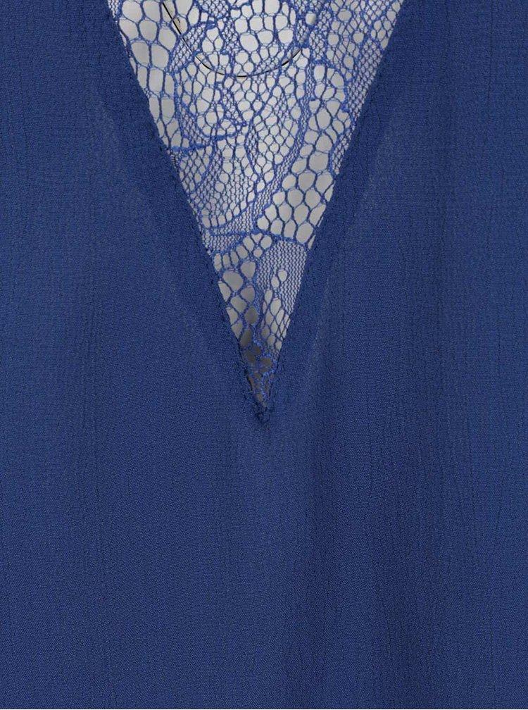 Top albastru închis VILA Shai cu detalii din dantelă