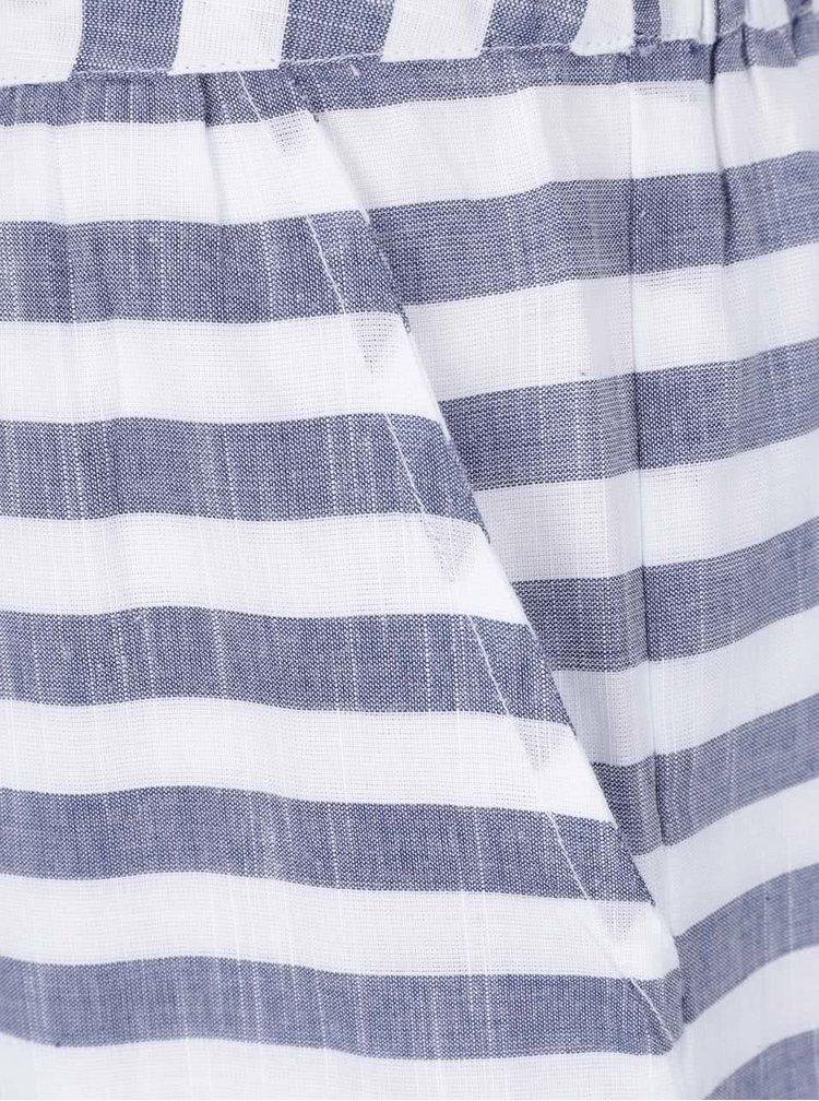 Fustă alb & albastru VILA Delika din bumbac cu model în dungi