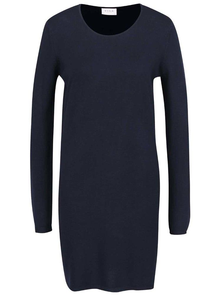 Tmavě modré šaty s dlouhým rukávem VILA Letter