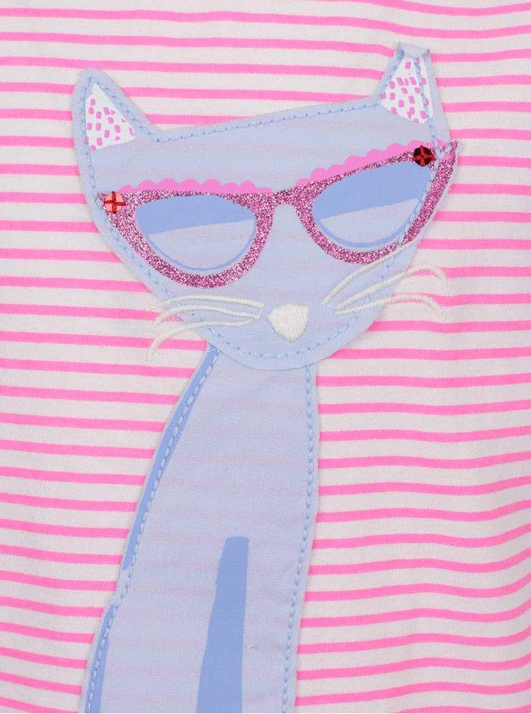 Růžové holčičí pruhované tričko s motivem kočky Tom Joule